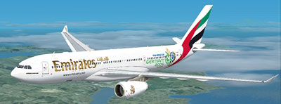 Airbus A330-200 in Emirates world cup livery