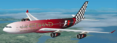 Etihad F1 livery on their Airbus A340-200