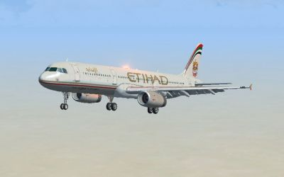 Etihad Airbus A321 shortly after take-off.