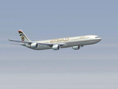 Etihad Airbus Airbus A340-642 in flight.
