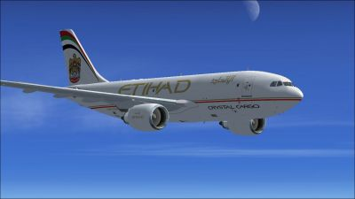 Etihad Crystal Cargo Airbus A310-304F in flight.