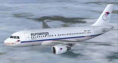 Eurowings Airbus A319-100 in flight.