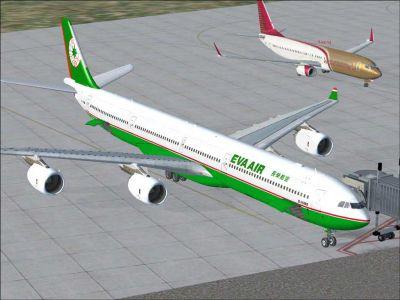 Eva Air Airbus A340-600 at docking gate.