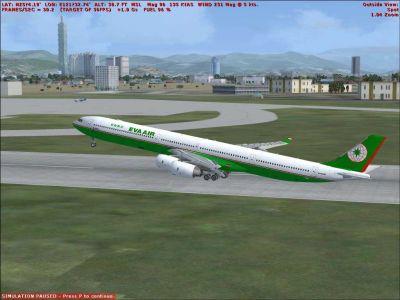 Eva Air Airbus A340-600 taking off.