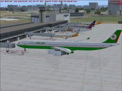 Eva Air Airbus A340-600 stationary at an airport gate.