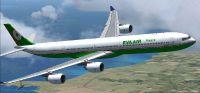 Eva Air Airbus A340-600 flying through clouds.