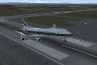 Evergreen Boeing 747-400F taking off.
