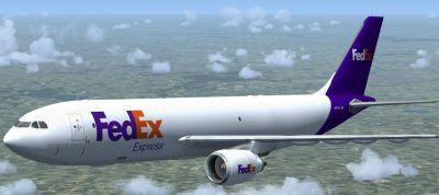 Fedex Airbus A300-600F in flight.