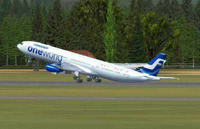 Finnair Airbus A340-313X taking off.