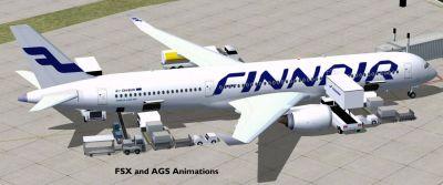 Finnair Airbus A350-900 at boarding gate.