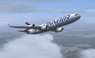 Finnair McDonnell Douglas MD-11 in flight.
