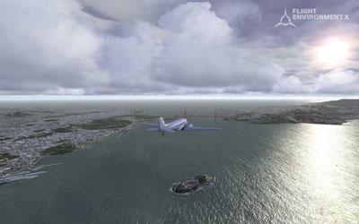 Screenshot from Flight Environment X flying over Golden Gate bridge