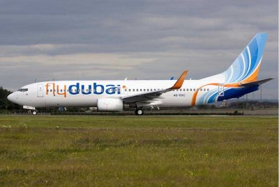Fly Dubai Boeing 737-800 on runway.
