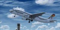 Fly International VA Airbus A320 taking off.