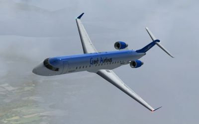 Genf Airlines Bombardier CRJ 700 in flight.