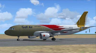 Gulf Air Airbus A320-214 on runway.