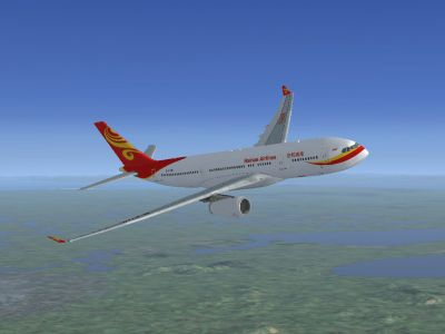 Hainan Airlines Airbus A330 in flight.