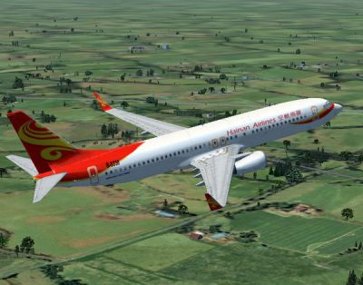 Hainan Airlines Boeing 737-800 in flight.
