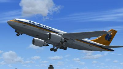 Hapag-Lloyd Airbus A310-304 taking off.