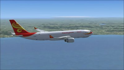 Hong Kong Airlines Airbus A330-200F in flight.