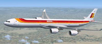 Iberia Airbus A340-642 in flight.