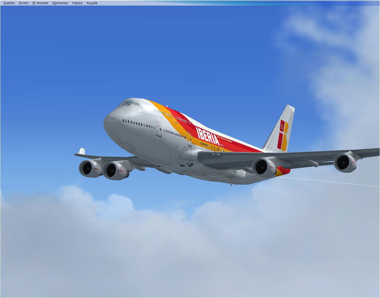 Iberia boeing 747 400 in flight