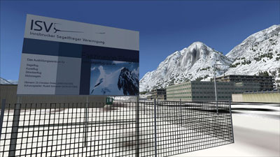 Innsbruck airport sign and scenery in FSX