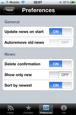 Screenshot of the preferences panel on the flight simulator app for iPhone