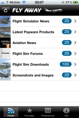 Home screen showing category selection on the free flight simulator app