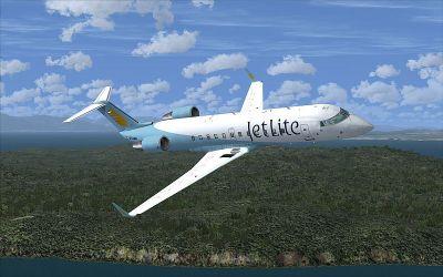 Jet Lite CRJ200 in flight.