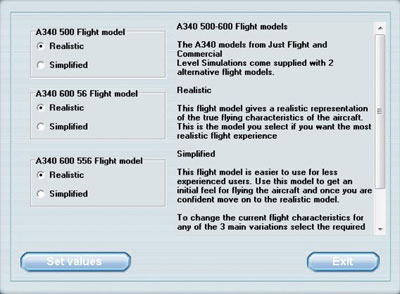 Flight model menu settings