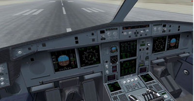 Flight deck on the Airbus A330 for FSX