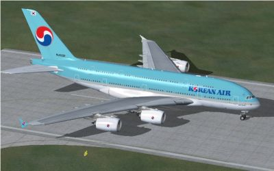 Korean Air Airbus A380-861 on runway.