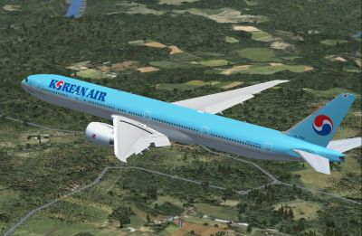 Korean Air Boeing 777-300 ER in flight.