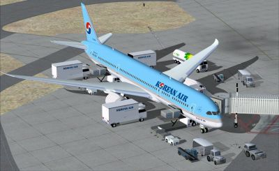 Korean Air Boeing 787-9 at boarding gate.