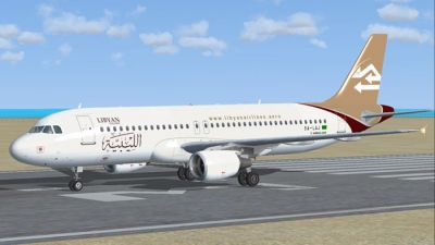 Libyan Airlines Airbus A320-214 on runway.