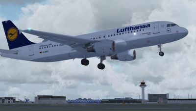 Lufthansa Airbus A320-211 taking off.