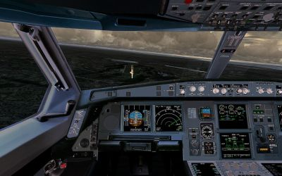 View from the cockpit of Lufthansa Airbus A320 on landing approach.