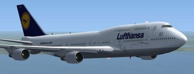 Lufthansa Boeing 747-430 in flight.