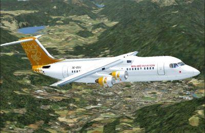 Malmo Aviation Airlines BAe Avro RJ100 in flight.