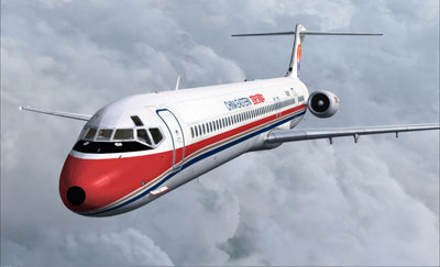 Screenshot of Just Flight's MD-81/82 Jetliner add-on in Microsoft's Flight Simulator X package