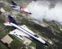 Two MiG-21MF fighter aircraft flying in FSX