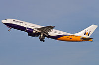 Monarch Airbus A300-600 in flight.