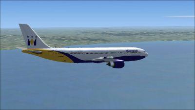 Monarch Airbus A300B4-605R in flight.