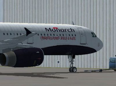 Monarch Airbus A321 ''Wills & Kate'' on tarmac.