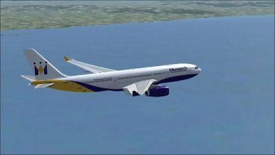 Monarch Airbus A330-243 in flight.
