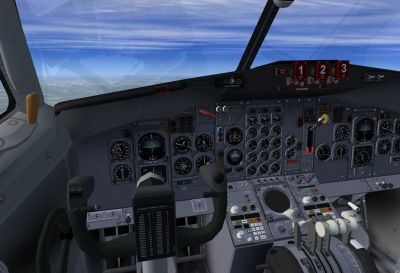 View from the cockpit of Native Boeing 727-200.