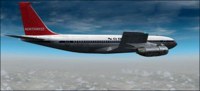 Northwest Orient Airlines Boeing 707-351 in flight.