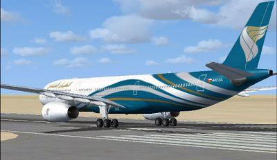 Oman Air Airbus A330-300 on runway.