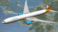 Orbit Airlines Boeing 777-300 ER in flight.